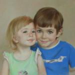 Дети. Бумага, пастель. 30х35см. 2014г. | Children. Paper, crayon; 30х35cm; 2014