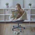 Варя в кресле. Бумага, пастель. 47х46,5см. 2016г. | Varya in the chair. Paper, crayon. 47x46,5cm. 2016