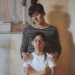 Полина и Соня. Бумага, пастель; 55,5х41,5см; 2018 г.