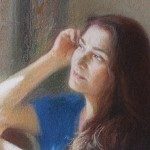 Когда время идет не спеша. Портрет Галины. Фрагмент. Бумага, пастель; 72х50 см; 2020 г. | When time goes slowly. Portrait of Galina. Fragment. Paper, crayon; 72x50 cm; 2020